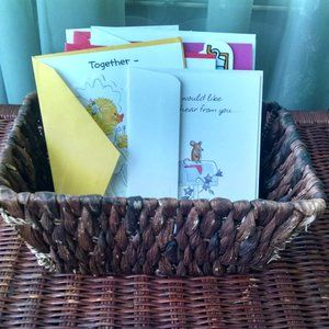 Wicker Woven Basket of 20 Greeting Cards